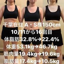 運動経験がないダイエットモニター様(千葉市在住A・S様) 10月11日から週2回のトレーニング16回目の劇的変化